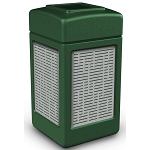 Commercial Zone® Precision Series 42-Gallon Stainless Steel Horizontal Lines Paneled Waste Container Green