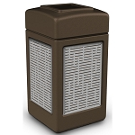Commercial Zone® Precision Series 42-Gallon Stainless Steel Horizontal Lines Paneled Waste Container Brown