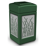 Commercial Zone® Precision Series 42-Gallon Stainless Steel Reed Paneled Waste Container Green