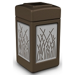 Commercial Zone® Precision Series 42-Gallon Stainless Steel Reed Paneled Waste Container Brown