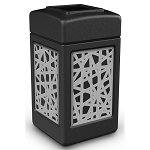 Commercial Zone® Precision Series 42-Gallon Stainless Steel Intermingle Paneled Waste Container Black