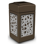 Commercial Zone® Precision Series 42-Gallon Stainless Steel Intermingle Paneled Waste Container Brown