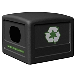 Commercial Zone® 42-Gallon Recycling Dome Lid w/ Decals Black