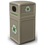 Commercial Zone® Green Zone Series 42-Gallon Recycling Containers w/ Dome Lid Beige