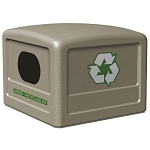 Commercial Zone® 42-Gallon Recycling Dome Lid w/ Decals Beige