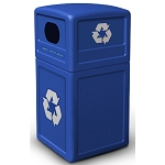 Commercial Zone® Green Zone Series 42-Gallon Recycling Containers w/ Dome Lid Blue