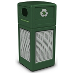 Commercial Zone® Precision Series 42-Gallon Stainless Steel Horizontal Lines Paneled Waste Container w/ Recycling Lid Green