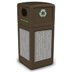 Commercial Zone® Precision Series 42-Gallon Stainless Steel Horizontal Lines Paneled Waste Container w/ Recycling Lid Brown