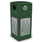 Commercial Zone® Precision Series 42-Gallon Stainless Steel Reed Paneled Waste Container w/ Recycling Lid Green