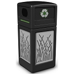 Commercial Zone® Precision Series 42-Gallon Stainless Steel Reed Paneled Waste Container w/ Recycling Lid Black