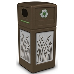Commercial Zone® Precision Series 42-Gallon Stainless Steel Reed Paneled Waste Container w/ Recycling Lid Brown