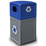 Commercial Zone® Green Zone Series 42-Gallon Recycling Container w/ Dome Lid Gray Base/Blue Lid