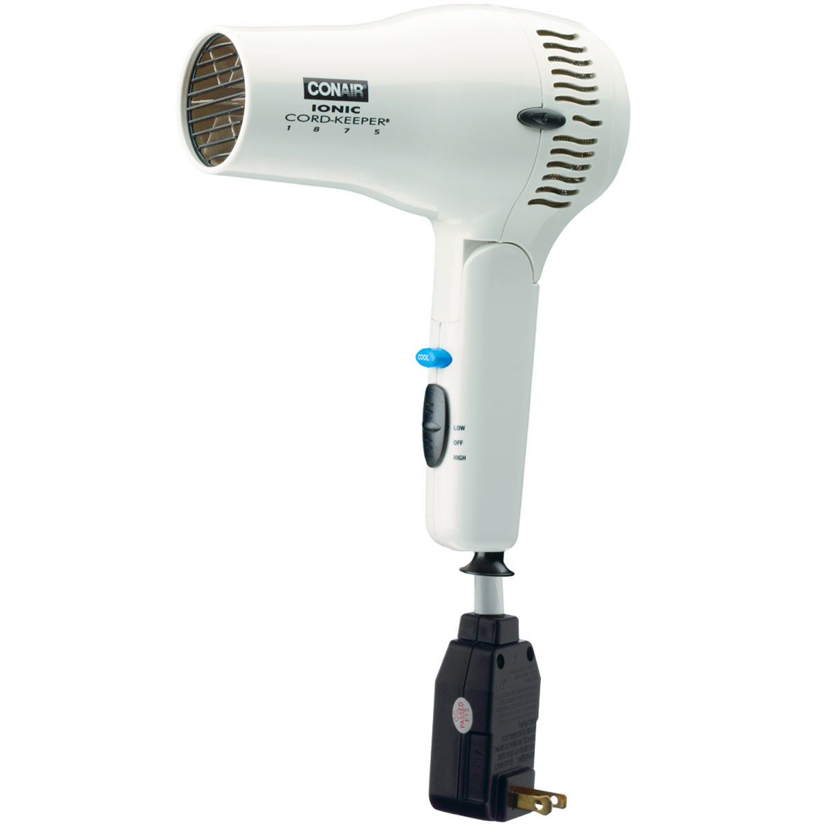 conair 169wiw 1875 watt ionic cord keeper dryer hair dryer w folding handle white 4 per case. Black Bedroom Furniture Sets. Home Design Ideas