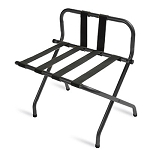 CSL High Back Series Back Webbing Metal Luggage Rack w/ Black Straps Black 6 Per Case Price Per Each