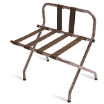 CSL High Back Series Back Webbing Metal Luggage Rack w/ Brown Straps Walnut 6 Per Case Price Per Each