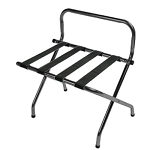 CSL High Back Series Wall Guard Metal Luggage Rack w/ Black Straps Black 6 Per Case Price Per Each