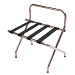CSL High Back Series Wall Guard Metal Luggage Rack w/ Black Straps Walnut 6 Per Case Price Per Each