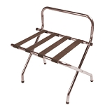 CSL High Back Series Wall Guard Metal Luggage Rack w/ Brown Straps Walnut 6 Per Case Price Per Each