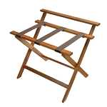 CSL Deluxe Series High Back Wood Luggage Rack w/ Brown Straps Walnut 3 Per Case Price Per Each