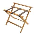 CSL Deluxe Series High Back Wood Luggage Rack w/ Brown Straps Light Oak 3 Per Case Price Per Each