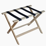 CSL Deluxe Series Wood Luggage Rack w/ Navy Blue Straps White Wash 5 Per Case Price Per Each