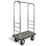 "CSL Easy-Mover™ Chrome Series Bellman's Cart Gray Bumper 8"" Black Pneumatic Casters"