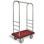 "CSL Easy-Mover™ Stainless Steel Series Bellman's Cart Black Bumper 8"" Gray Pneumatic Casters"