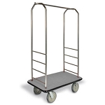 "CSL Easy-Mover™ Stainless Steel Series Bellman's Cart Black Bumper 5"" Gray Polyurethane Casters"