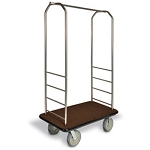 "CSL Easy-Mover™ Stainless Steel Series Bellman's Cart Gray Bumper 8"" Black Pneumatic Casters"
