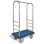"CSL Easy-Mover™ Stainless Steel Series Bellman's Cart Gray Bumper 5"" Gray Polyurethane Casters"