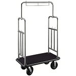 CSL Deluxe Stainless Steel Bellman's Cart w/ Squared Top & Side Bar 1-1/2