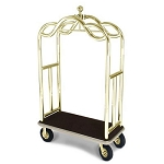 "Forbes Deluxe Luggage Cart 2"" Diameter Tubular Solid Brass Superstructure Two 2"" Diameter Push Bars & Vertical Retaining Bars 8"" Black Pneumatic Wheels in Brass Plated Hubs & Forks"