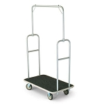 Forbes Standard Luggage Cart Silver Powder-Epoxy Finish Steel Superstructure 5' Grey Wheels