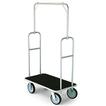 Forbes Standard Luggage Cart Silver Powder-Epoxy Finish Steel Superstructure 8' Black Wheels