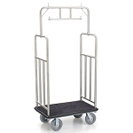 "Forbes Standard Luggage Cart 1.25"" Diameter Satin Diamond Textured Stainless Steel Superstructure Double Hanger Bar Vertical Retaining Bar 8"" Grey Cushion Wheels"