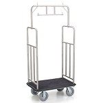 "Forbes Standard Luggage Cart 1.25"" Diameter Brushed Stainless Steel Superstructure Double Hanger Bar Vertical Retaining Bar 8"" Grey Cushion Wheels"
