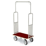 "Forbes Standard Luggage Cart 1"" Diameter Brushed Stainless Steel Superstructure w/ Extra Vertical Retaining Bars 8"" Black Wheels"