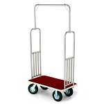 Forbes Standard Luggage Cart Brushed Stainless Steel Superstructure w/ Extra Vertical Retaining Bars 8