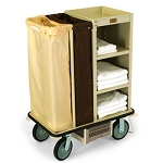 Forbes Steel Compact Houskeeping Cart w/ Under-Deck Half Glass Rack Holder Vacuum Bracket 8