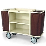 Forbes Steel Housekeeping Cart w/ Low-Profile Handles 8