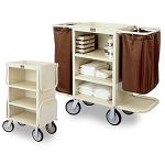 Forbes Steel Compact Housekeeping Cart w/ 2 Folding End Platforms & Handle 8