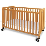 Foundations Full Size Hideaway™ EasyRoll™ Wood Folding Crib w/ 4