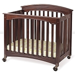 Foundations Compact Size Royale™ EasyRoll™ Wood Folding Crib w/ 4