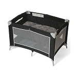 Foundations Sleep n Store® Portable Crib w/ Bassinet Mod Plaid Graphite