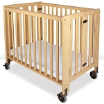 Foundations Compact Hideaway™ EasyRoll™ Wood Folding Crib w/ 4