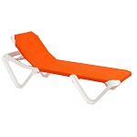 Grosfillex Nautical Stacking Adjustable Sling Chaise White Frame/Orange Sling 12 Per Case Price Per Each
