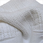 Ganesh Hotel Thermal Closed Weave Blanket Twin 66x90 100% Cotton White 50 Per Case Price Per Each
