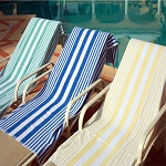Ganesh Oxford Tropical Stripe Pool Towels 30x60 100% Cotton Vat Dyed Yarn 9 Lb/Dz 5 Dz Per Case Price Per Dz