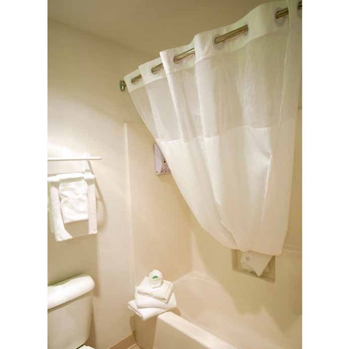 Ganesh No Hook Fabric Shower Curtain W 12 Sheer Voile Window 71x74 White Per Case Price Each