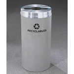 Glaro 12-Gallon RecyclePro 1 Receptacles For Mixed Recyclables w/ Multi-Purpose Opening Satin Aluminum Satin Brass or Designer Color Finish